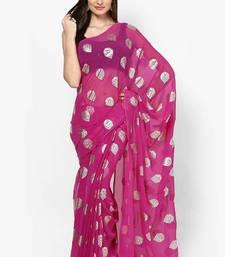 Buy magenta Foil Print Chiffon Saree printed-saree online