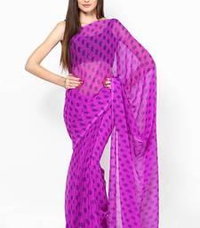 Buy Purple Jaipuri Booti Print Chiffon Saree printed-saree online