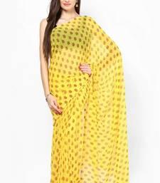 Buy Yellow Booti Print Chiffon Saree printed-saree online