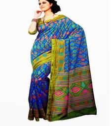 Buy Aria printed fluroscent blue raw silk saree 2369 tussar-silk-saree online