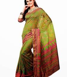 Buy Green raw silk saree Diwali Aria printed pista 2371 tussar-silk-saree online