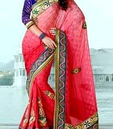 Buy Indian Ethnic Classy Red Viscose Saree viscose-saree online