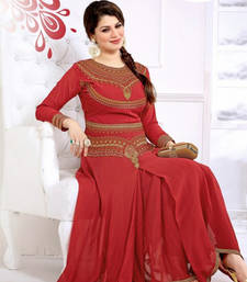 Red Anarkali Suit With Heavy Neck Embroidery Work shop online