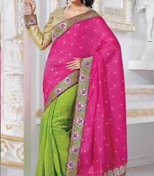 Buy Party Wear Parrot Green and Rani Pink Bhagalpuri Jacquard Saree with Blouse bhagalpuri-silk-saree online