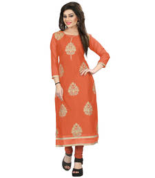Buy Orange embroidered chanderi kurti party-wear-kurti online