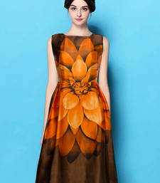 Buy Orange printed satin short-kurtis short-kurti online