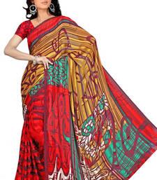 Buy Multi colour Printed satin patti Saree printed-saree online