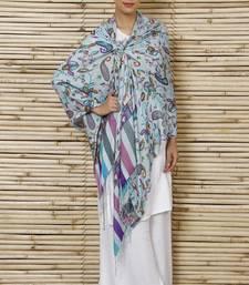 Buy Sky blue Pure Silk Stole shawl online