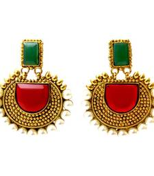 Buy Rectangular Semicircle Stone Earrings - Multi danglers-drop online