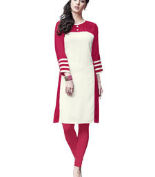 White plain rayon long-kurtis shop online