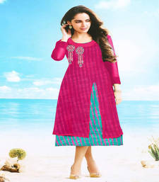 Buy Pink embroidered georgette kurtis kurtas-and-kurti online