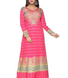 Buy Pink American Crepe Printed Long Kaftan  with Long Sleeves kaftan online