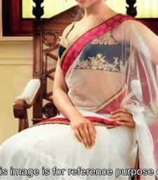Buy Deepika White Saree with red border deepika-padukone-saree online