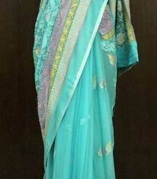 Mermaid Blue Georgette Saree shop online