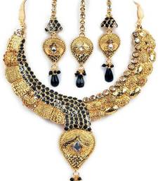 Aria Traditional style black Kundan  cz gold plated necklace earring set  ws42 shop online