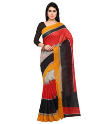 Buy Red Printed Silk Saree With Blouse silk-saree online