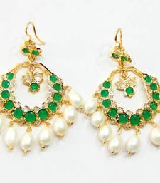 ETHENIC POLKI EMRALD N REAL WHITE PEARLS HANGINGS IN CHAND BALI STYLE