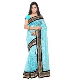 Buy turquoise brasso brasso saree with blouse brasso-saree online