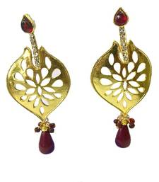 Maroon and Gold Kundan Earrings shop online