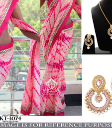 Buy Pink embroidered georgette saree with blouse & free gift one-minute-saree online