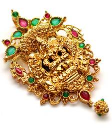 Buy Anvi's big size lakshmi pendent (Temple Jewellery) with rubies and emeralds Pendant online