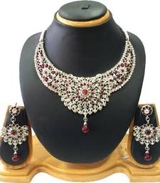 Exquisite Silver and Maroon Necklace Set shop online