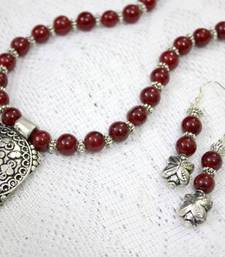 Buy Mesmerising Maroon Necklace and Earrings Set necklace-set online