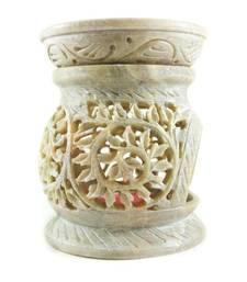 Buy Round hand carved  floral design stone oil burner  candle online