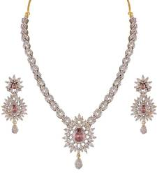 Buy Heena Floral Marquise collection Necklace set >> HJNL144BR << party-jewellery online