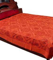 Buy Mirror Work Embroidered Red Double Bed Sheet bed-sheet online