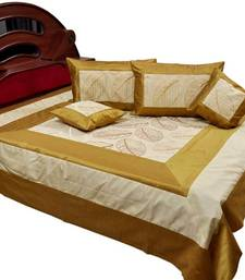 Buy Golden Brown Silk Double Bed Cover Cushion Set bed-sheet online