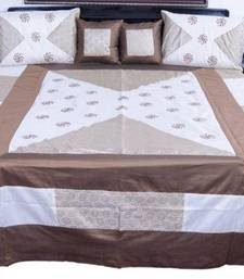 Buy Cream Brown Silk Double Bed Cover with 4 pillow cover bed-sheet online
