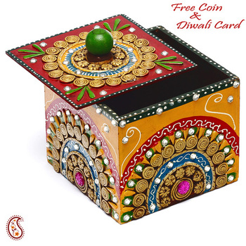 Buy Wood And Clay Utility Box With Hand Painted Work