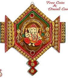 Buy Ganesh ji Wall Décor in Wood and Clay Art diwali-decoration online