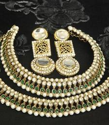 Gold Plated Handcrafted White colour Earrings & Green colour Anklets with Pearl shop online