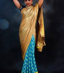Buy Gold & Blue Georgette georgette-saree online