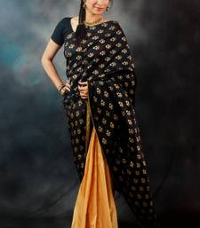 Buy Black & Gold Kadi-print Half & Half silk-saree online