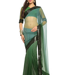 Buy Deep Sea Green Embroidered Net Saree With Blouse (1499) net-saree online