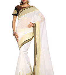 Buy White Embroidered Cotton Saree With Blouse (1536) cotton-saree online