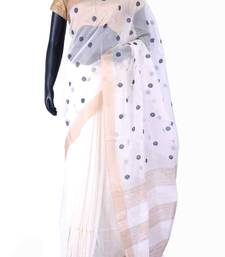 Buy White tussar fabric weaved saree in golden border & white blouse-SR5441 tussar-silk-saree online