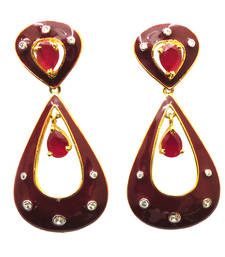 Buy Vatika red and pink american diamond earring danglers-drop online