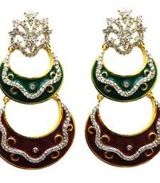 Buy vatika designer maroon and green american diamond earring danglers-drop online