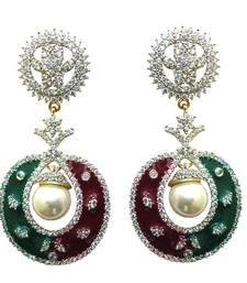 Buy Vatika red, green with white pearl american diamond earring danglers-drop online