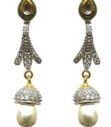 Buy Vatika white pearl and kundan with american diamond earring danglers-drop online