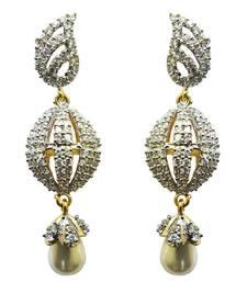 Buy Vatika white pearl drop american diamond earring danglers-drop online