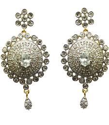 Buy Vatika round shaped american diamond earring danglers-drop online