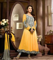 Yellow and Gray Embroidery Pure Georgette Semi Stitched Designer Anarkali Suit shop online
