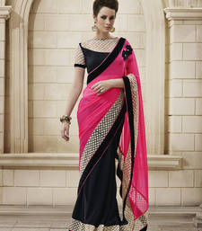 Buy Awesome Pink Georgette Designer Saree karwa-chauth-saree online