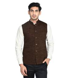 Buy Maroon Plain Poly Cotton Round Neck MEN nehru-jacket online