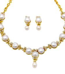 Buy ELEGANT BUTTON PEARLS NECKLACE SET FROM HYDERABAD - necklace-set online